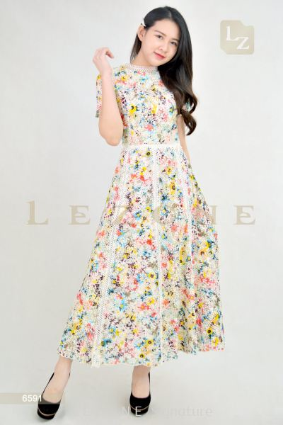 6591 CONTRAST MESH FLORAL MAXI DRESS��2ND 50%��