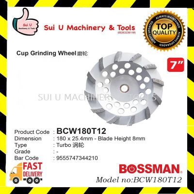BOSSMAN BCW180T12 Cup Grinding Wheel 7 inches 180 x 25.4mm