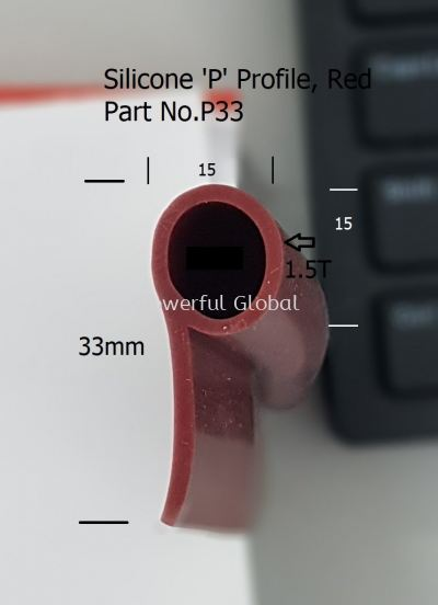 Silicone Rubber P Profile P33 Red