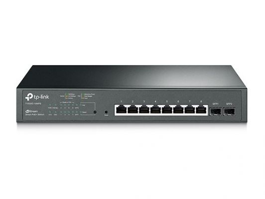 T1500G-10MPS. TPlink JetStream 8-Port Gigabit Smart PoE+ Switch with 2 SFP Slots