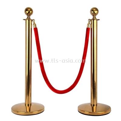 Golden Barrier Stanchion Set with Red Velvet Rope