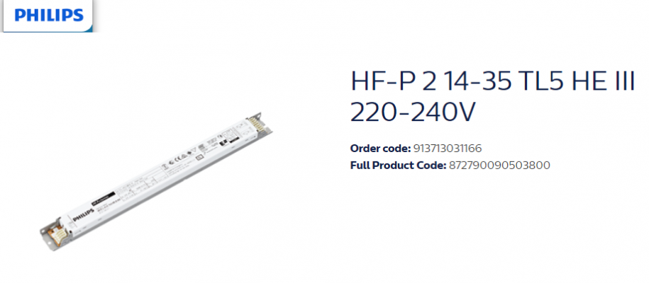 PHILIPS HF-P 2 14-35 TL5 HE III 220-240V 913713031166 DIMMING EB