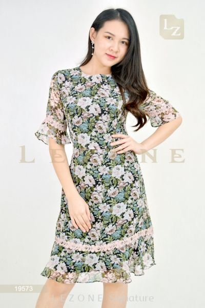 19573 FLORAL RUFFLE DRESS