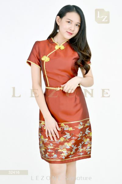 32416 PLUS SIZE JACQUARD CHEONGSAM DRESS