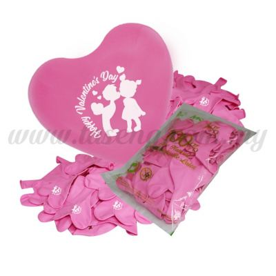 12inch Happy Valentine's Day 1 Side Heart Shape Printed Balloons 50pcs - Pink (B-12HS-HV50-P)