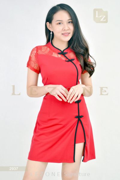 2937 LACE SLEEVE CHEONGSAM LONG BLOUSE WITH SHORT PANTS��2nd pcs onwards 50%��