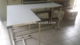 L Shape Work Table c/w White Formica