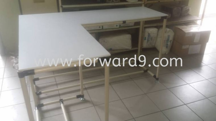 L Shape Work Table c/w White Formica  Finished Products Pipe & Joint System Racking System
