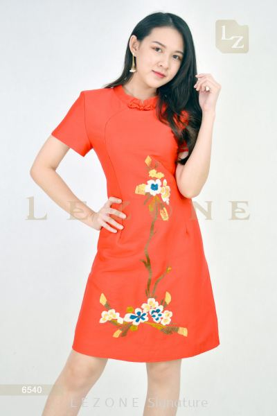 6540  Embroidered Floral Cheongsam Dress