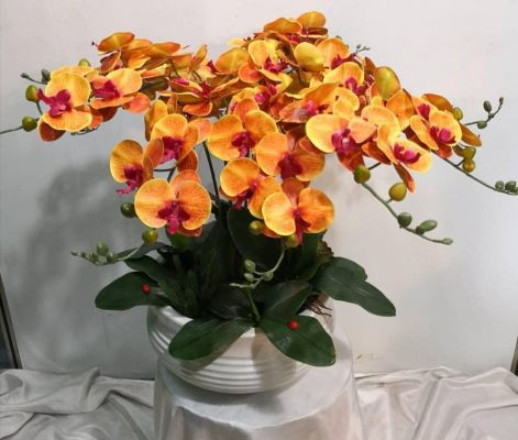 Artificial Orange Orchid plant (AOP-003)