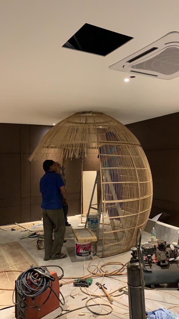 Custom Made Bird Nest Counter by Rattan Art