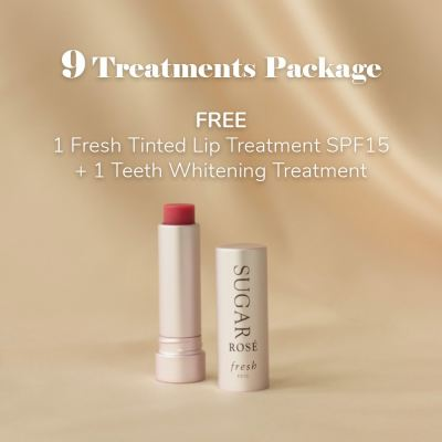 9 Treatments Package: FREE 1 Fresh Tinted Lip Treatment SPF15 + 1 Teeth Whitening Treatment
