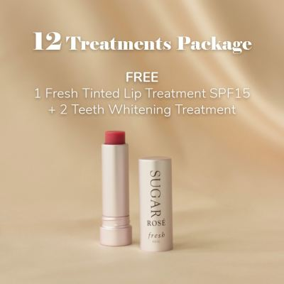 12 Treatments Package: FREE 1 Fresh Tinted Lip Treatment SPF15 + 1 Teeth Whitening Treatment