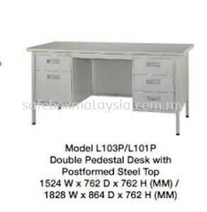 Double Pedestal Desk With Postformed Steel Top