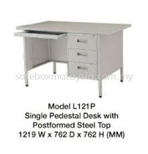 Single Pedestal Desk With Postformed Steel Top