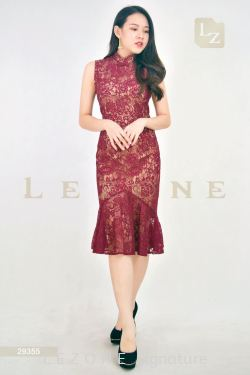29355 LACE RUFFLE MIDI CHEONGSAM DRESS【30% 40% 50%】