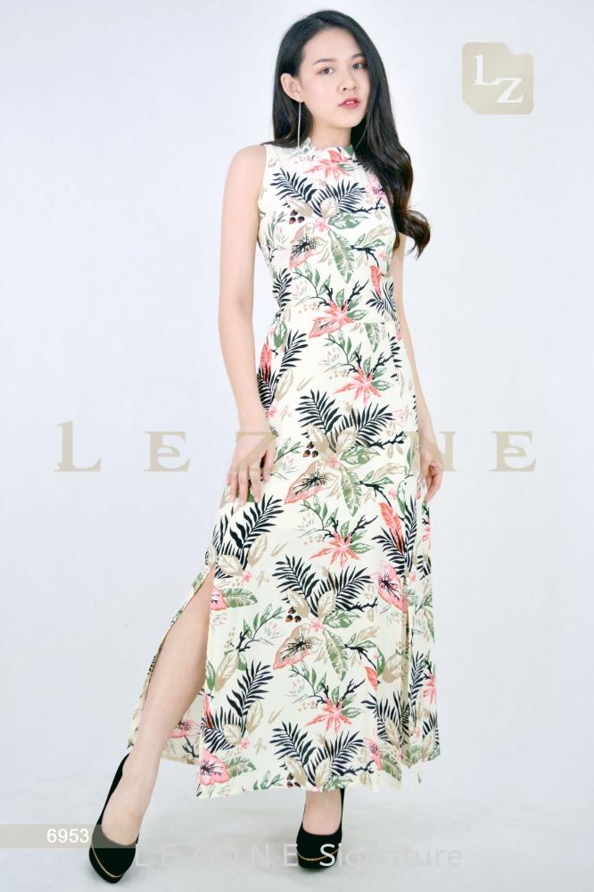 6953 SLIT PRINTED FLORAL MAXI DRESS 【2ND 50%】