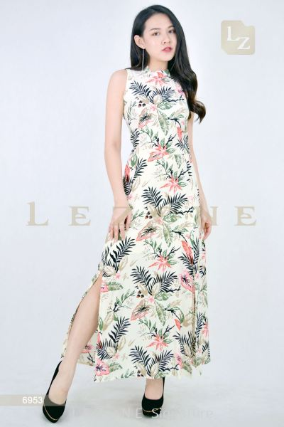 6953 SLIT PRINTED FLORAL MAXI DRESS ��2ND 50%��