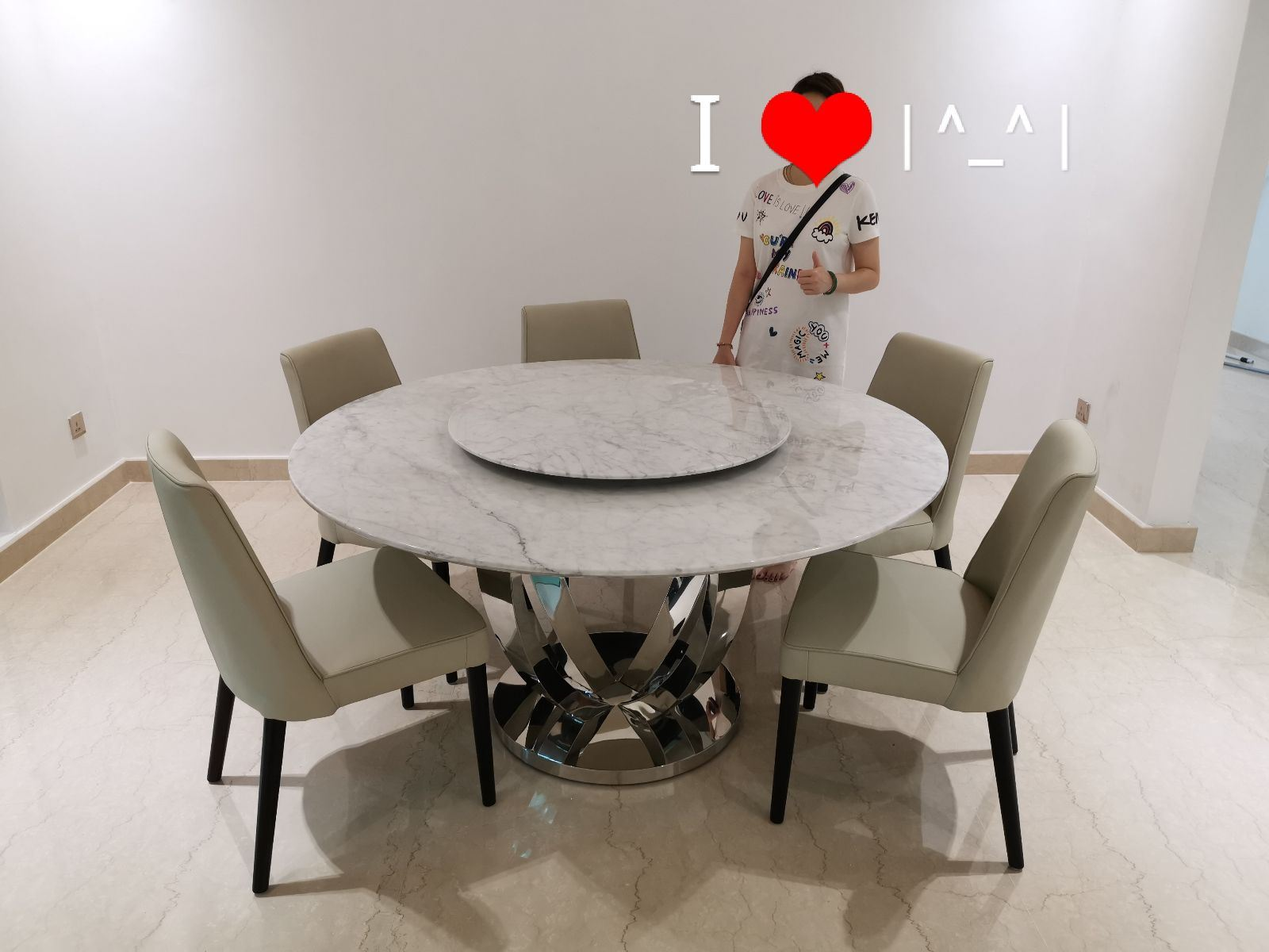 White Marble Dining Table From Italy - Arabescato Piana Marble