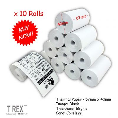 [10 Rolls] 57mm x 40mm High Quality Thermal Receipt Paper Roll