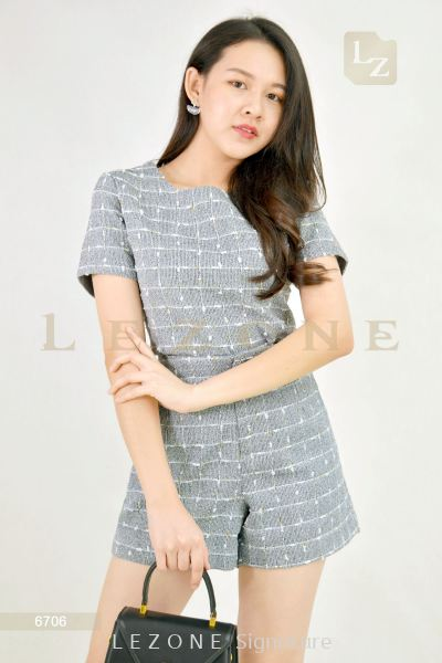 6706 Linen Plaid Blouse With Short Pant