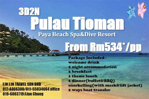 3Day2Night Pulau Tioman (Paya Beach Spa&Dive Resort)