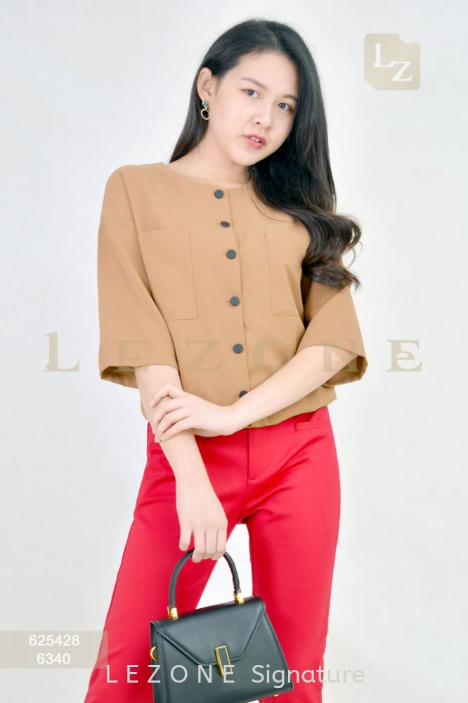 625428 PLUS SIZE BUTTON SLEEVE BLOUSE 【2ND 50%】