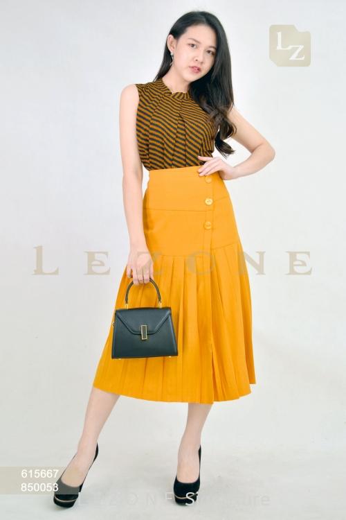 850053 Pleated Midi Skirt