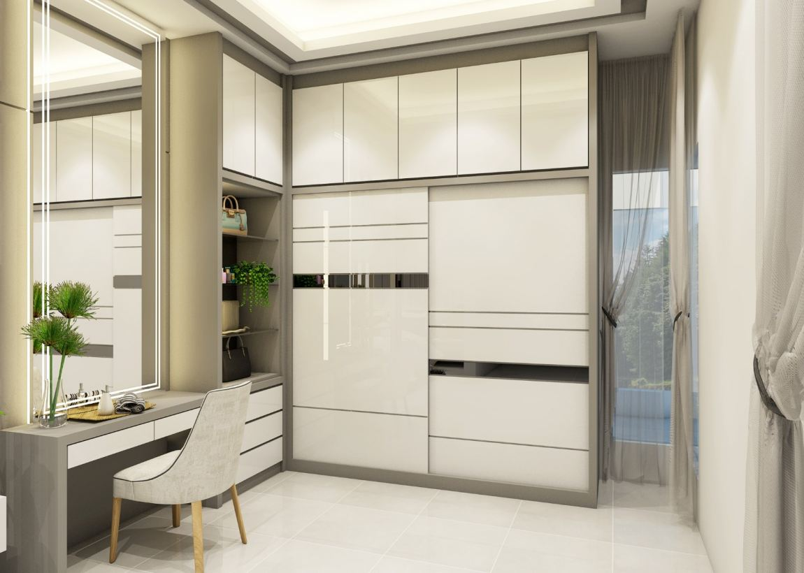 Wardrobe + Dessing Table 3D Design Refer Reka Bentuh 3D Rumah  Reka Bentuk 3D