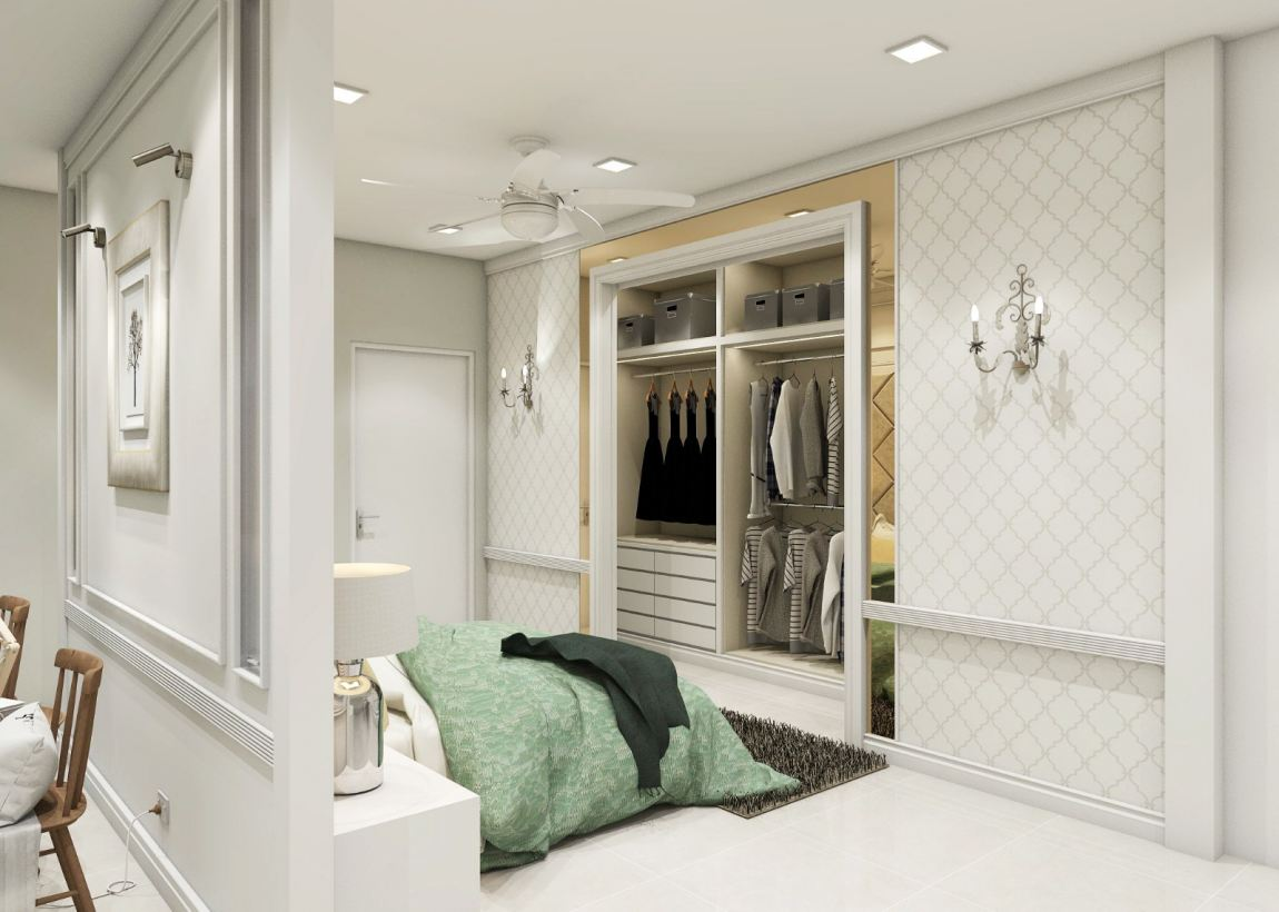 Classic White Room 3D Draw & Design Bedroom 3D Design Drawing