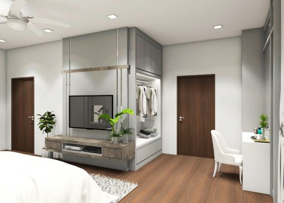 Master Bedroom With Built-in TV Rack  3D Design Drawing