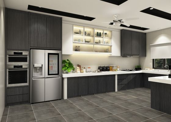 Modern Grey Style Kitchen Cabinet 3D Draw