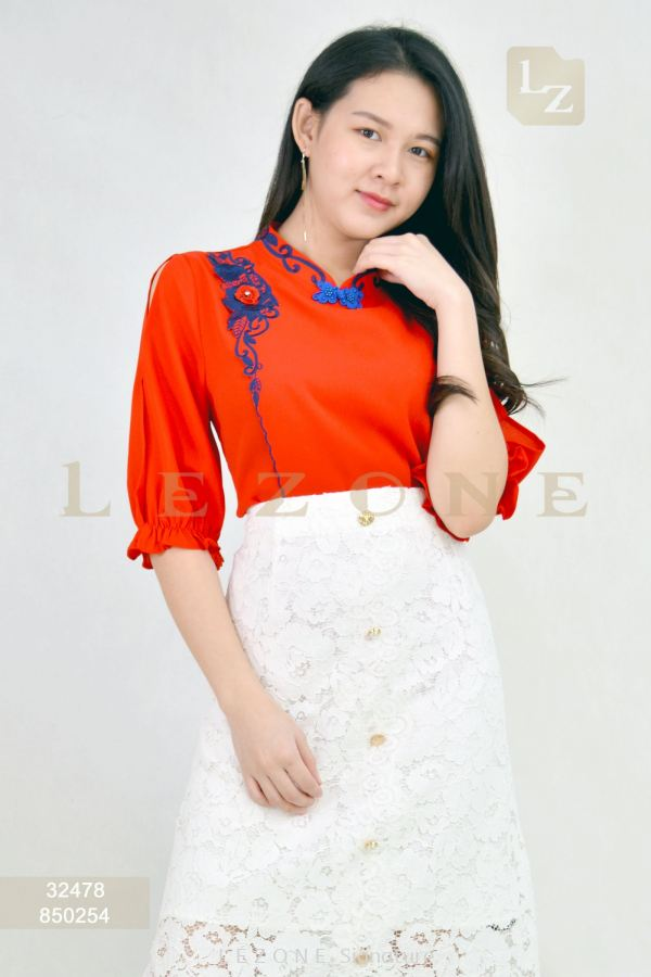 32478 Plus Size Embroidered Cheongsam Blouse