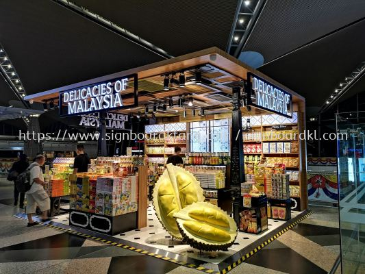 Delicacies of malaysia 3D LED channel box up front lit signage at Klia 1 sepang Kuala Lumpur