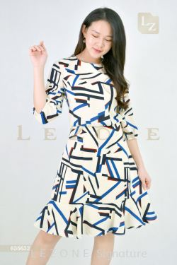 635622 PRINTED PATTERN A-LINE DRESS【30% 40% 50%】
