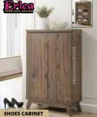 ERICA Shoe Cabinet Solid Wood / Nice Colour / wood Shoes Rack / Shoes Storage Rack / Kasut Cabinet /