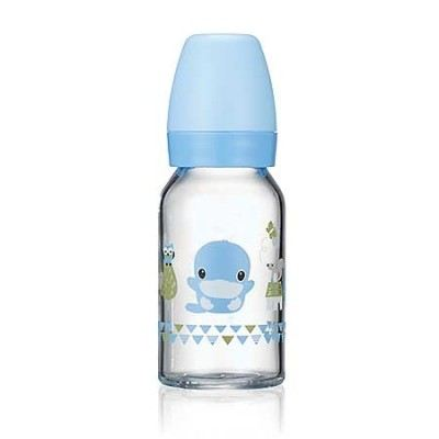 KUKU DUCKBILL Borosilicate Glass Standard Feeding Bottle BLUE 120ml (KU5862)
