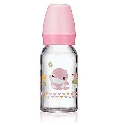 KUKU DUCKBILL Borosilicate Glass Standard Feeding Bottle PINK 120ml (KU5862)
