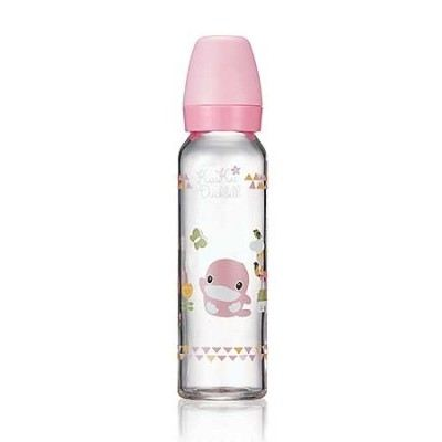 KUKU DUCKBILL Borosilicate Glass Standard Feeding Bottle PINK 240ml (KU5863)