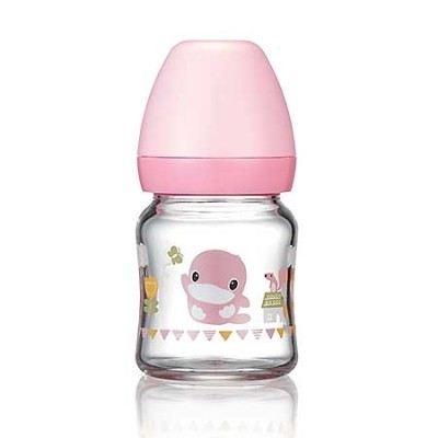 KUKU DUCKBILL Borosilicate Glass Wide-Neck Feeding Bottle PINK 120ml (KU5864)