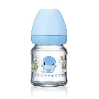 KUKU DUCKBILL Borosilicate Glass Wide-Neck Feeding Bottle BLUE 120ml (KU5864)