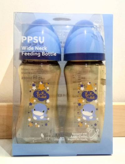 KUKU DUCKBILL PPSU Wide-Neck Feeding Bottle BLUE 280ml 2pcs (KU5866)