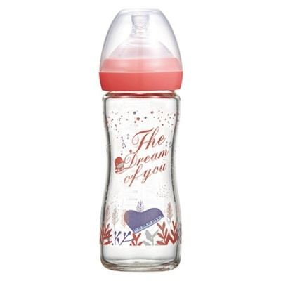 KUKU DUCKBILL The Dream of You Glass Wide-Neck Feeding Bottle PINK 240ml (KU5872)