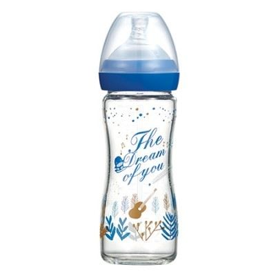 KUKU DUCKBILL The Dream of You Glass Wide-Neck Feeding Bottle BLUE 240ml (KU5871)