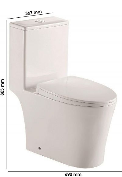 MOCHA One Piece Water Closet Rimless Flushing System Bathroom MWC7609