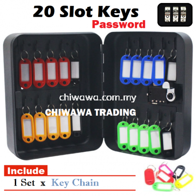 ��RM36��20 Keys Slot 4 Digit Password Metal Key Box Wall Mount Storage Box Cabinet Security Key Lock