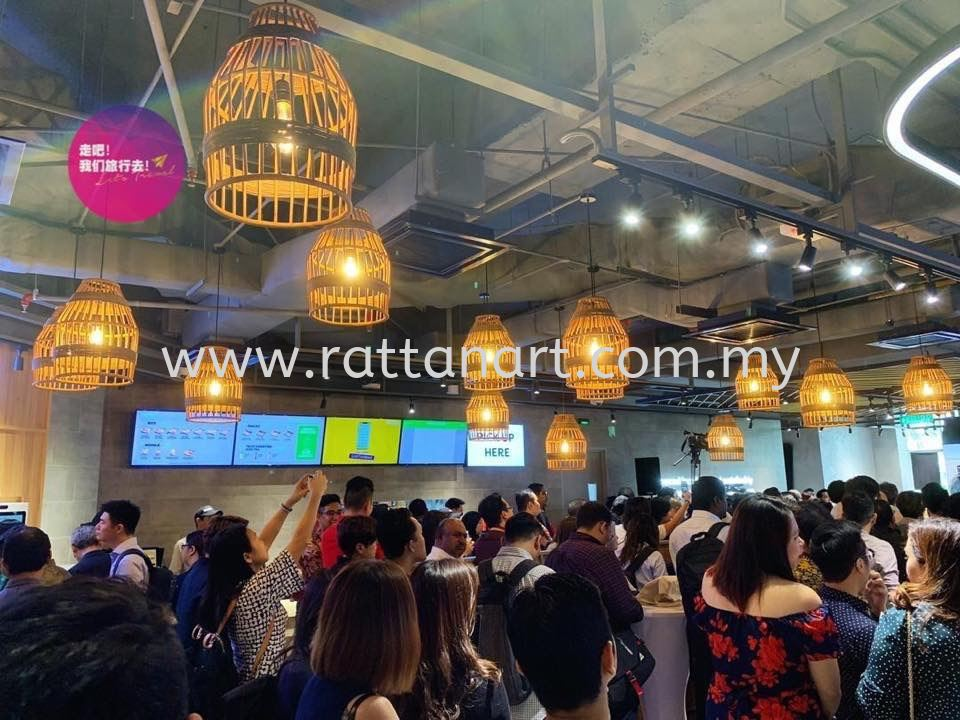 SANTAN @ MID VALLEY Customize Rattan Pendant Light and Rattan Mesh Signboard by RATTAN ART.  Design by MLA DESIGN SDN BHD.