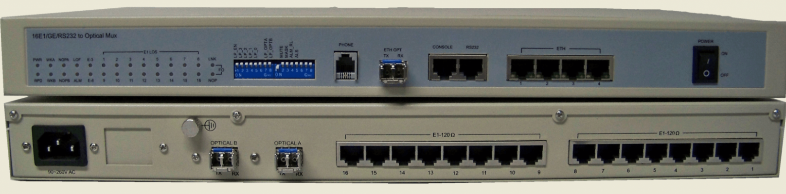 8 E1 G.703 + 5 x 10/100/1000 GE over fiber multiplexer with smart GUI and dot1Q, QoS and shaping