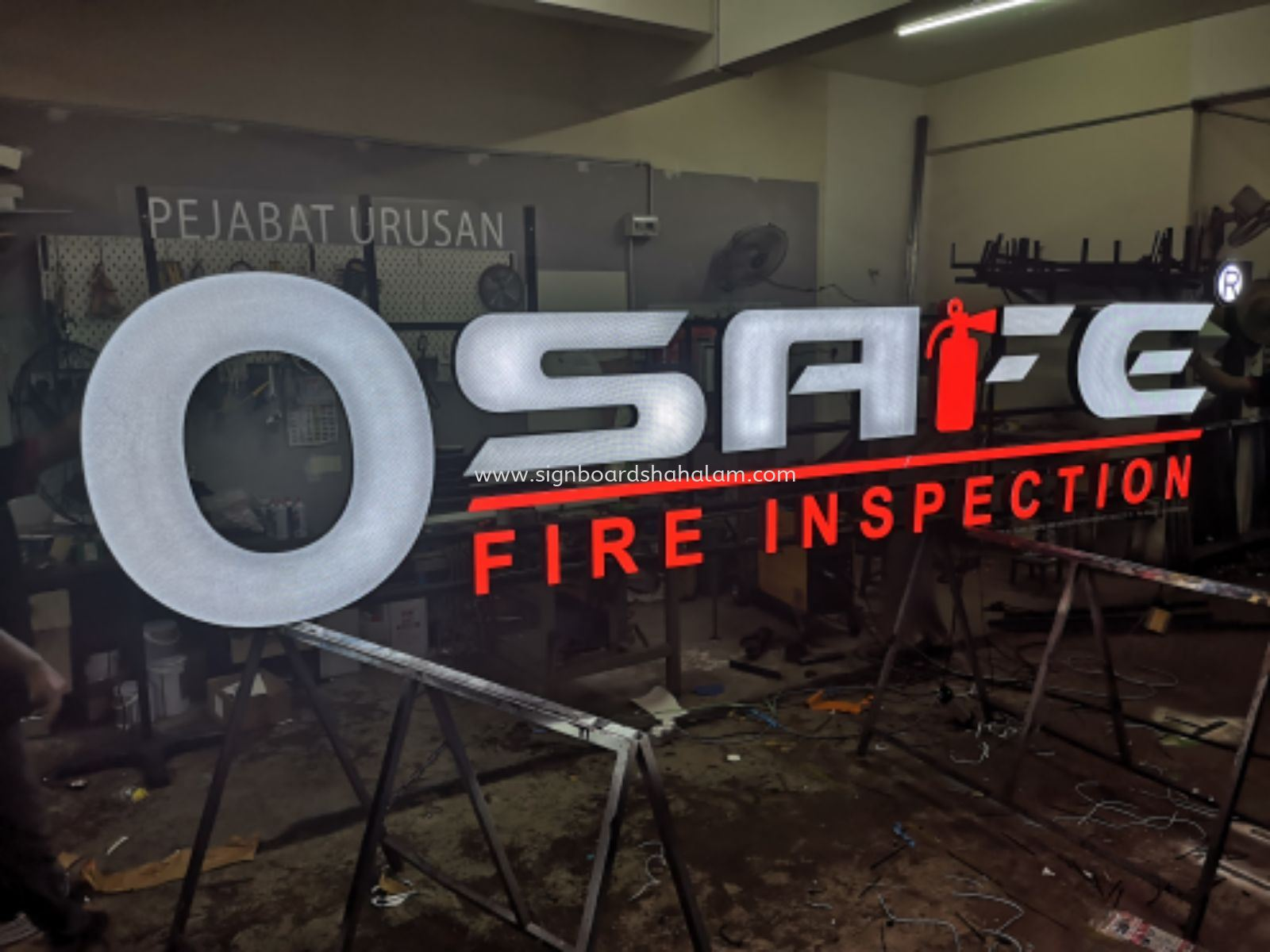 O SAFE FIRE INSPECTION 3D LED SIGNAGE