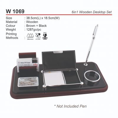 W 1069  6in1 Wooden Desktop Set
